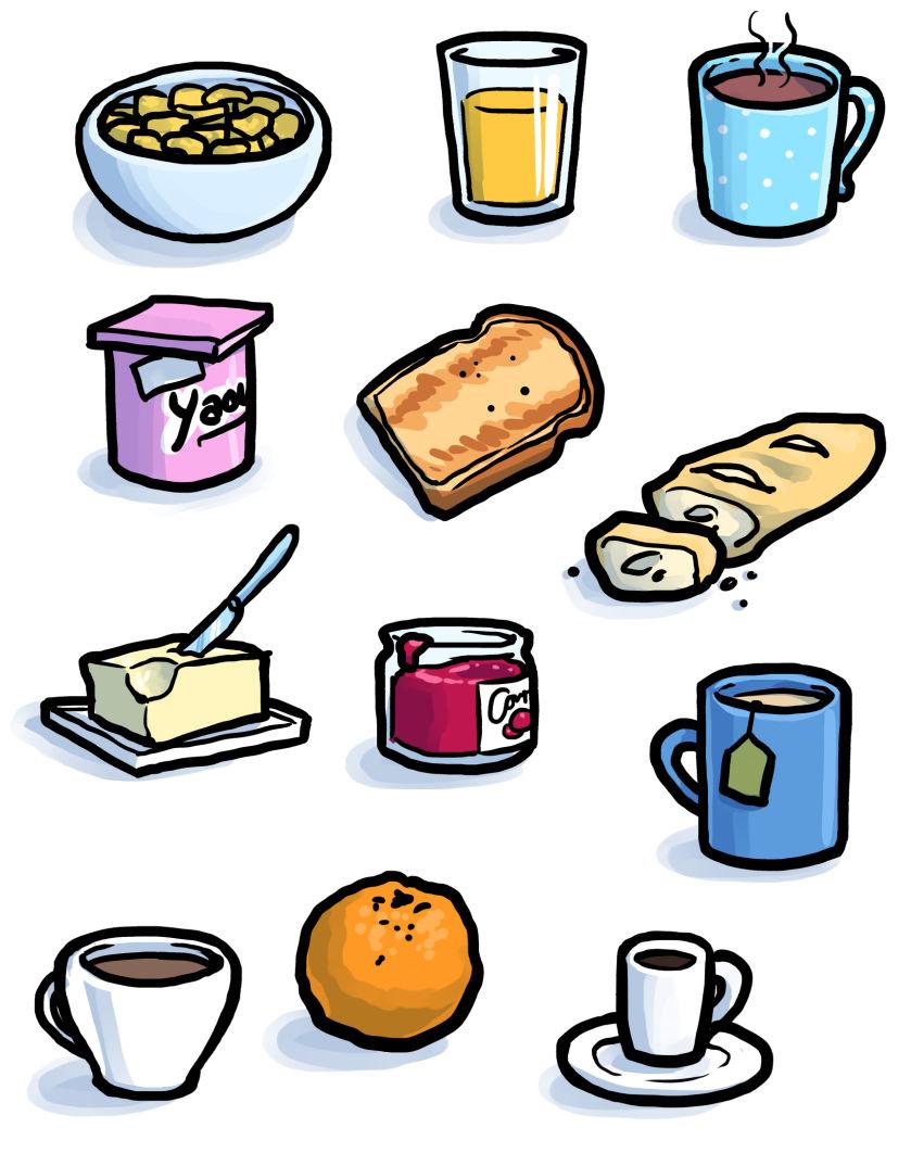 Övningsbilder: Frukostmat.