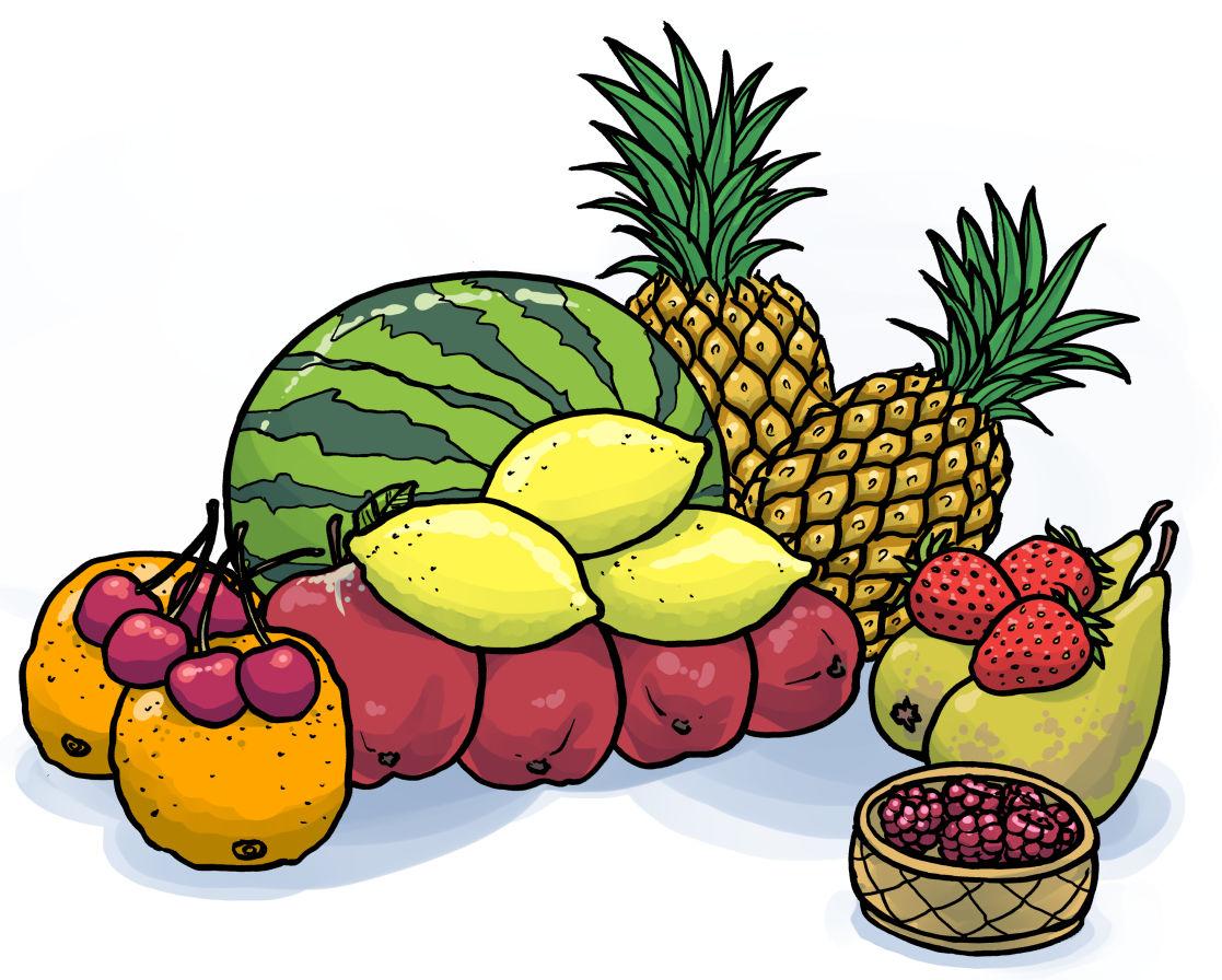 Övningsbilder: Frukter och prepositioner.