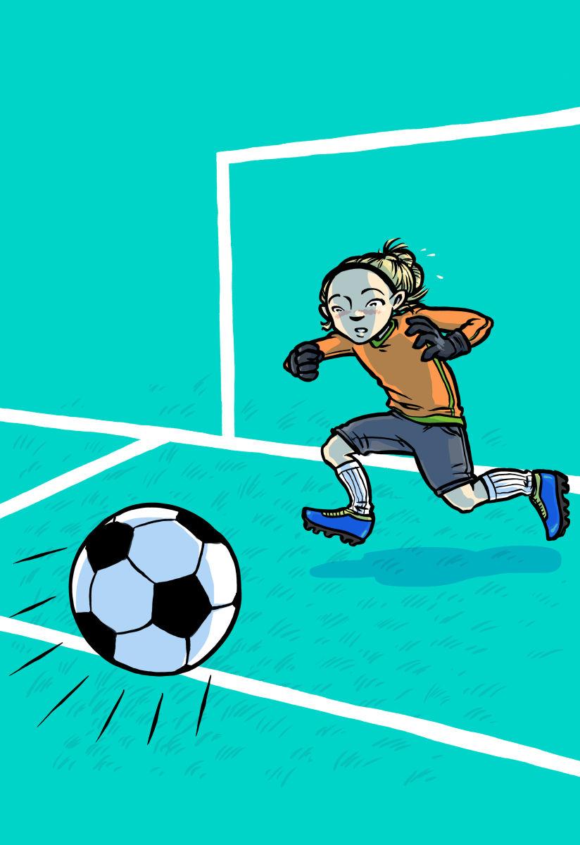 Snygg räddning, Hedvig! Omslag fotboll