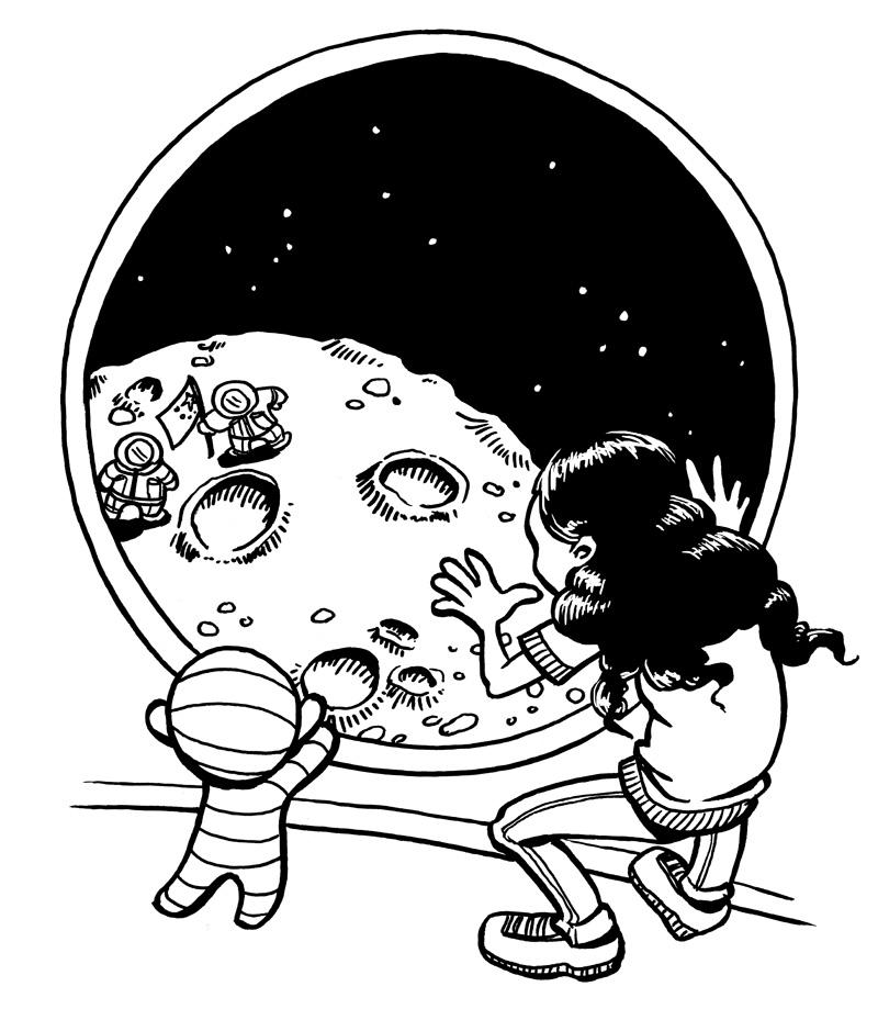 """Illustration från inlagan till """"Mirell, ett rymdäventyr""""."""